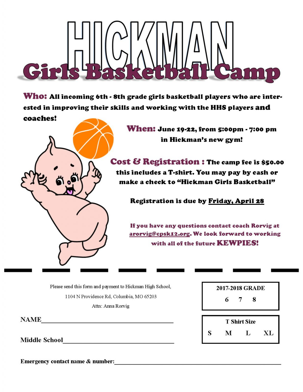 Middle School Basketball Camp, Summer 17